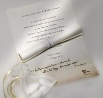 Pergamena con sacchetto portaconfetti per il matrimonio proposto da Telethon