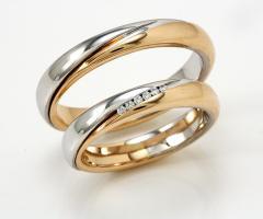Biffi Gioielli - Fedi in oro giallo con linea di oro bianco