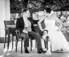 Scatto fotografico degli sposi al ricevimento di matrimonio