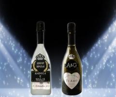 Bottiglia Prosecco de Faveri personalizzata con Swarovki per il matrimoni