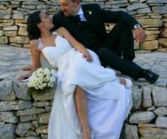 Foto degli sposi durante il ricevimento nuziale