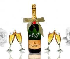 Champagne Moet Chandon personalizzato per il matrimonio