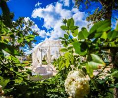 Allestimento del giardino con gazebi e tende bianche