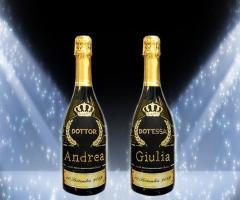 Bottiglia Prosecco de Faveri personalizzata con Swarovki per le lauree