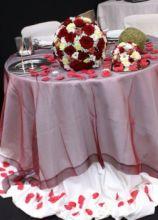 Tavolo degli sposi con centrotavola floreali a sfera