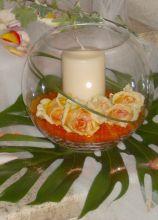 Centrotavola ad ampolla con candela per i tavoli di nozze
