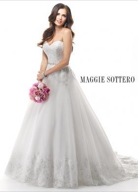 Abito da sposa con ricami preziosi sul corpino e sul bordo della gonna - Mod. Zendaya Maggie Sottero