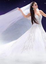 Abito da sposa con velo lungo