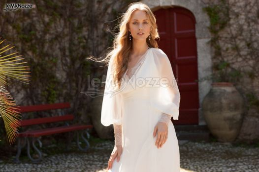 Foto 1 - Abiti da sposa moderni - Vestito da sposa morbido con maniche ...