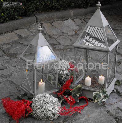 Lanterne con candele per il ricevimento di matrimonio