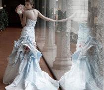 Sposa Romantica: abito di taffettà di seta sfumato avorio-azzurro di Atelier Aimée Montenapoleone