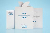 Partecipazione con busta e biglietto invito al ristorante - Linea Volo UNICEF