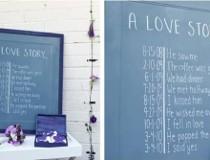 Pannello azzurro con la storia degli sposi