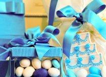 Bomboniere azzurre con biscotto decorato by VP Palmieri