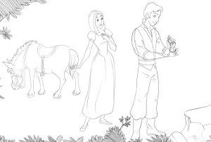 Bozzetto di una scena del video di matrimonio cartoon