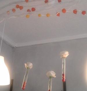Provette con fiori appese al lampadario - Pistone Alfreda Fiorista