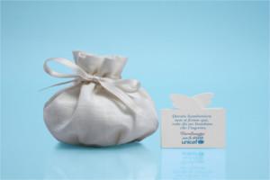 Sacchetto e biglietto per le bomboniere solidali UNICEF