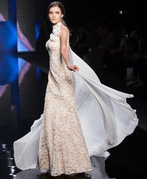 Abito da sposa in pizzo champagne - Collezione 2016 Tarik Ediz