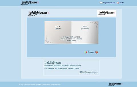 Schermata principale della lista di nozze online