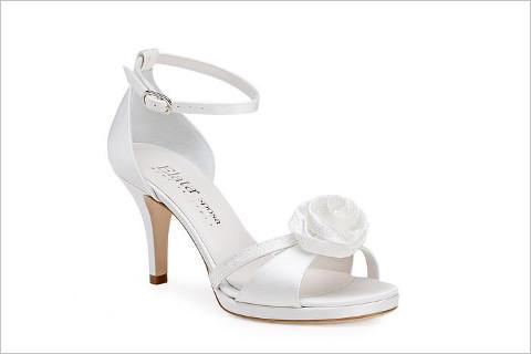Scarpa con tacco medio e fiore sul davanti - Elata Scarpe per la Sposa