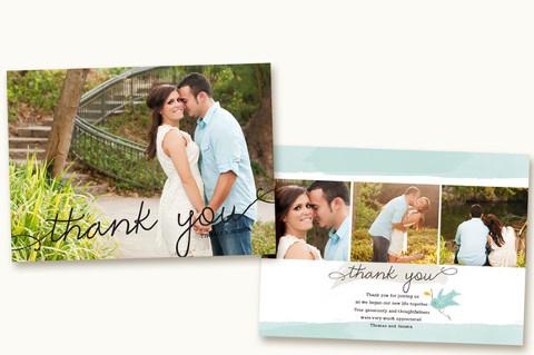 Biglietto di ringraziamento con le foto del viaggio di nozze
