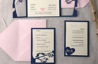 Biglietti di ringraziamento con lo stesso stile delle partecipazioni di nozze