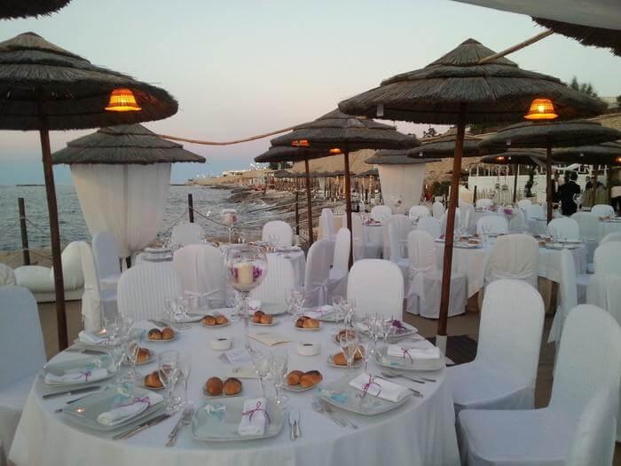 I tavoli per un matrimonio sul mare