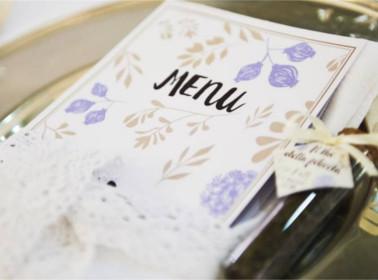 menu matrimonio vintage