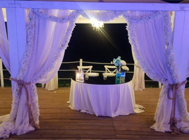 tavolo sposi matrimonio sera mare