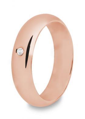 Fede classica in oro rosa con diamante