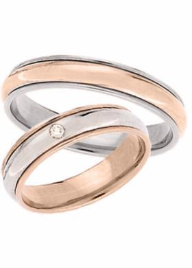 Fedi in oro rosa con diamante - Collezione Kate