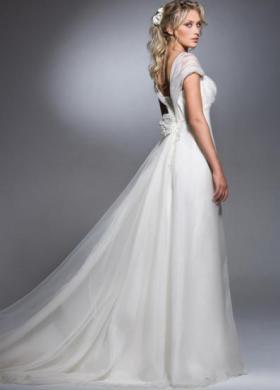 Vestito per la sposa con chiusura a fiocco sul retro