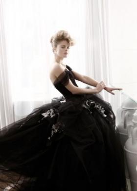 Abito da sposa con gonna ampia color nero - Collezione Bianco e Nero