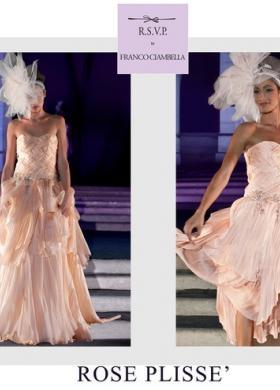 Vestito da sposa con corpetto intrecciato a maglie grosse - Modello Rose Plissè