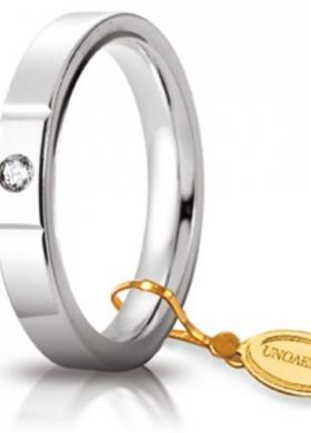 Fede nuziale con diamante in oro bianco