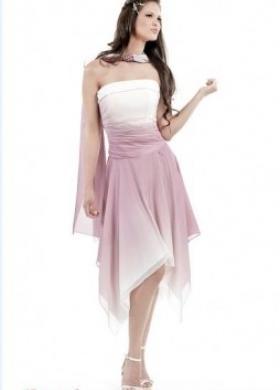 Vestito da sposa corto, color rosa