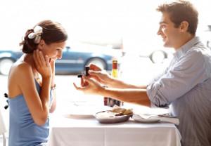 Proposta di matrimonio durante la cena