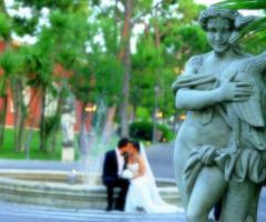 Gli sposi presso Villa Carafa
