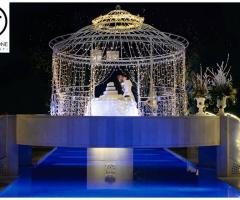 Villa Ciardi - La torta nuziale sotto il gazebo illuminato