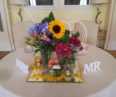 Villa San Martino - Coreografia floreale del tavolo degli sposi