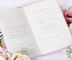 Partecipazioni Bijoux - Collezione cuore in rosa quarzo interno