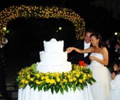 Scatto fotografico degli sposi al taglio della torta nuziale