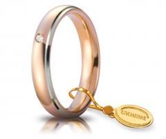 Fede nuziale in oro rosa con bordi in oro bianco e brillantino