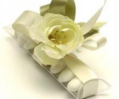 Conti Confetteria Torino - Tubino trasparente 7 confetti con fiore in tessuto