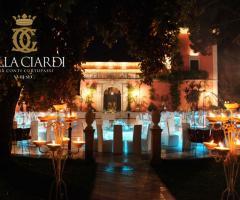 Villa Ciardi illuminata per un matrimonio di sera