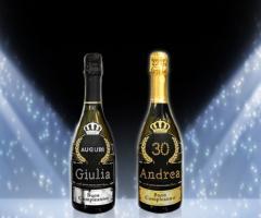 Bottiglia Prosecco de Faveri personalizzata con Swarovki per i compleanni