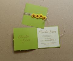 Sara Carloni Studio - Partecipazione girasole carta verde