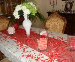 Addobbo del tavolo a casa della sposa