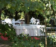 Il buffet degli sposi tra gli alberi a Parco Gambrinus