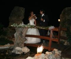 Gli sposi al ricevimento di matrimonio